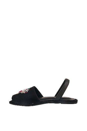 Black Floral Embroidered Flats by TEAL BY VRINDA GUPTA