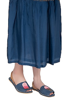 Blue Denim Embroidered Flats by TEAL BY VRINDA GUPTA