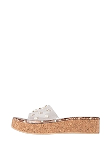 Brown Embellished Sandals With Transparent Strap by TEAL BY VRINDA GUPTA