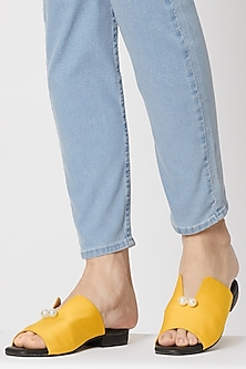 Mustard Yellow Embellished Mules by TEAL BY VRINDA GUPTA
