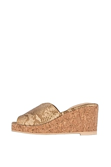 Gold Faux Snake Leather Cut Wedges by TEAL BY VRINDA GUPTA