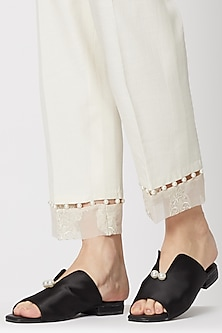Black Embellished Satin Mules by TEAL BY VRINDA GUPTA