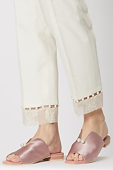 Pink Embellished Satin Mules by TEAL BY VRINDA GUPTA