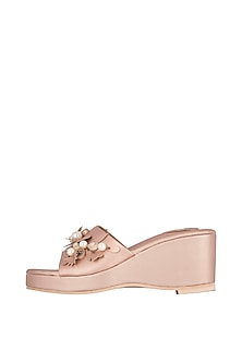 Rose Gold Embroidered Wedges by TEAL BY VRINDA GUPTA