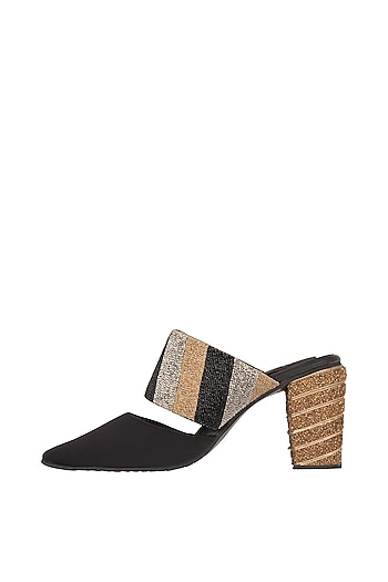 Black & Gold Hand Embroidered Block Heels by TEAL BY VRINDA GUPTA