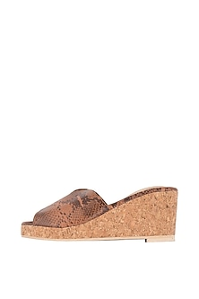 Copper Faux Snake Leather Cut Wedges by TEAL BY VRINDA GUPTA