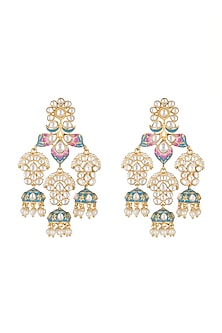 Gold Finish Blue & Pink Meenakari Earrings by Tanzila Rab