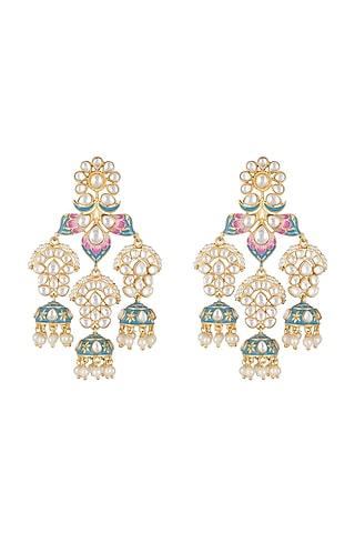 Gold Finish Blue & Pink Meenakari Earrings by Tanzila Rab