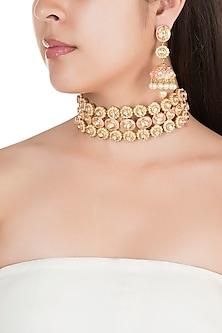 Gold Finish Pink Meenakari Choker Necklace Set by Tanzila Rab
