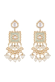 Gold Finish Mint Green Meenakari Earrings by Tanzila Rab