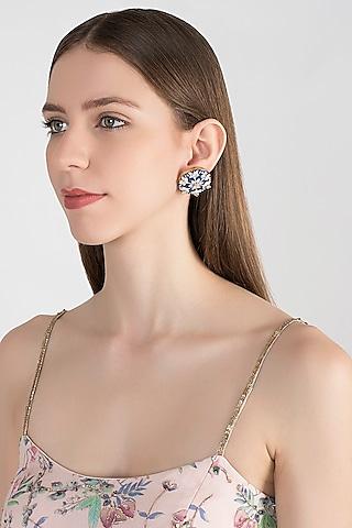 Gold Plated Meenakari Kundan Earrings by Tanzila Rab