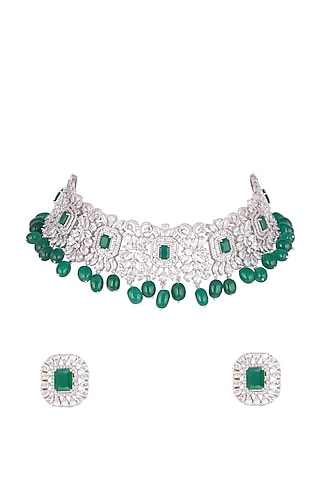 Gold Plated Emerald Necklace Set by Tanzila Rab