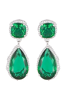 White Finish Emerald & White Sapphire Earrings by Tanzila Rab