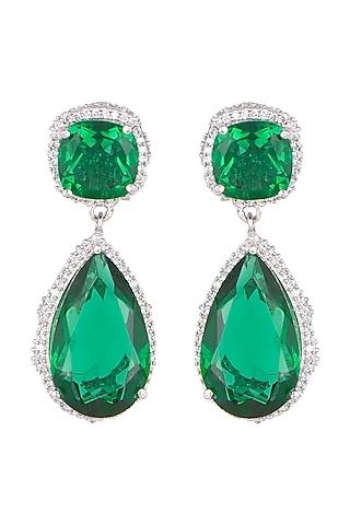 White Finish Emerald & White Sapphire Earrings by Tanzila Rab