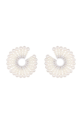 White Finish Pearls Starburst Earrings by Tanzila Rab