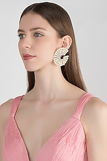 White Finish Pearls Starburst Earrings by Tanzila Rab