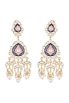 Gold Plated Meenakari Pearl & Kundan Earrings by Tanzila Rab