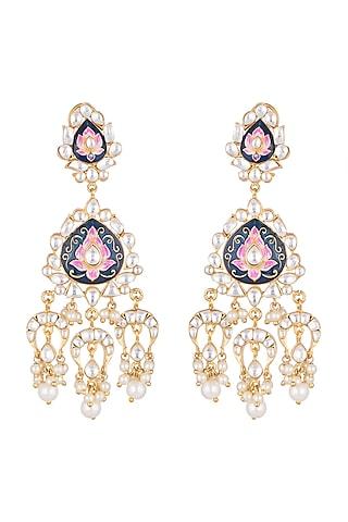 Gold Plated Meenakari Pearl & Kundan Earrings by Tanzila Rab