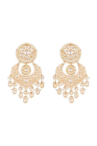 Gold Plated Meenakari Pearl Chandbali Earrings by Tanzila Rab