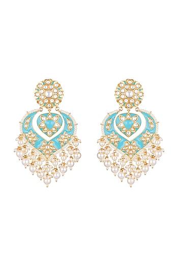 Gold Plated Meenakari Chandbali Pearls Earrings by Tanzila Rab