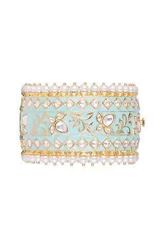 Gold Plated Meenakari Kundan & Pearls Openable Cuff by Tanzila Rab