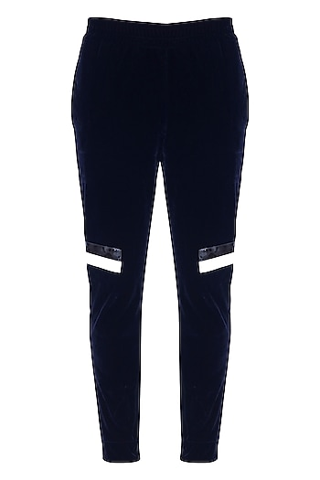 Dark Blue Striped Jogger Pants by The Natty Garb