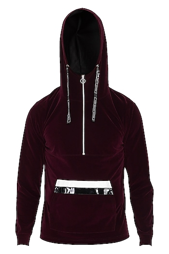 Wine Velvet Hoodie Jacket by The Natty Garb