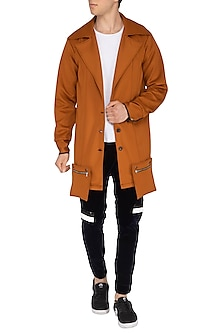Brown Embroidered Trench Coat by The Natty Garb
