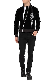 Black Embroidered Asymmetrical Bomber Jacket by The Natty Garb