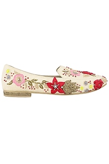 Cream Embroidered Loafers by TEAL BY VRINDA GUPTA