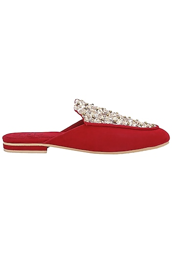 Red Embellished Mules by TEAL BY VRINDA GUPTA