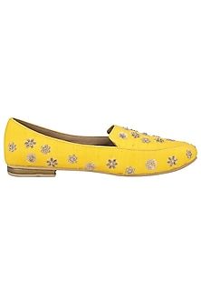 Yellow Embellished Loafers by TEAL BY VRINDA GUPTA