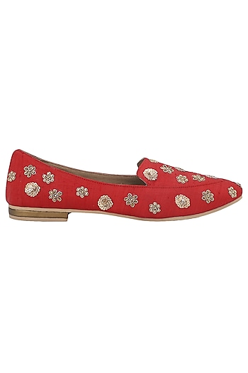 Red Embellished Loafers by TEAL BY VRINDA GUPTA