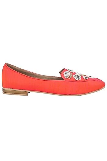 Orange Pearls Embellished Loafers by TEAL BY VRINDA GUPTA