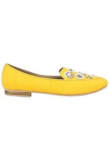 Yellow Pearl Embellished Loafers by TEAL BY VRINDA GUPTA
