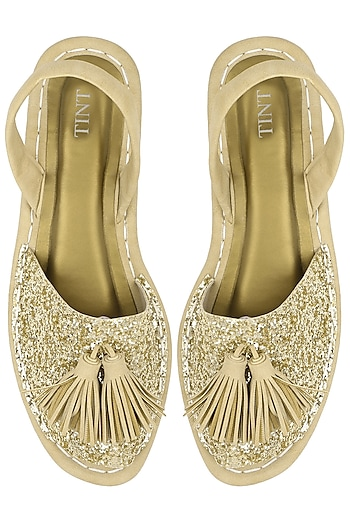 Gold Glittered Back Strap Sandals by TEAL BY VRINDA GUPTA