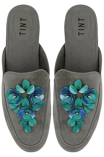 Grey Floral Embellished Mules by TEAL BY VRINDA GUPTA
