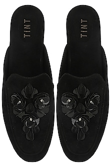 Black Floral Embellished Mules by TEAL BY VRINDA GUPTA