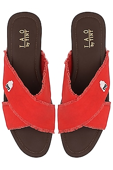 Red Cross Strap Sandals by TEAL BY VRINDA GUPTA