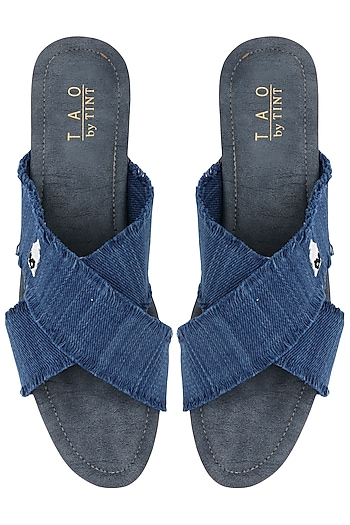 Blue Cross Strap Sandals by TEAL BY VRINDA GUPTA
