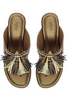 Bronze Tassel Embellished Kohlapuri Wedge Heels by TEAL BY VRINDA GUPTA