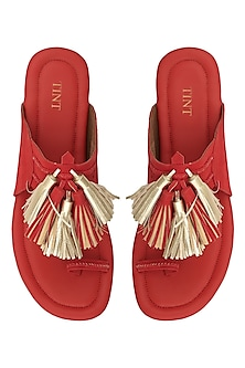 Red Tassel Embellished Kohlapuri Sandals by TEAL BY VRINDA GUPTA