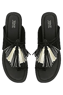 Black Tassel Embellished Kohlapuri Sandals by TEAL BY VRINDA GUPTA