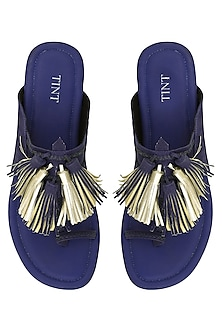 Royal Blue Tassel Embellished Kohlapuri Sandals by TEAL BY VRINDA GUPTA