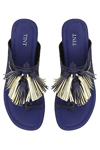 Royal Blue Tassel Embellished Kohlapuri Sandals by TEAL BY VRINDA GUPTA