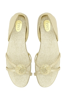 Gold Flower Embellished Strappy Sandals by TEAL BY VRINDA GUPTA