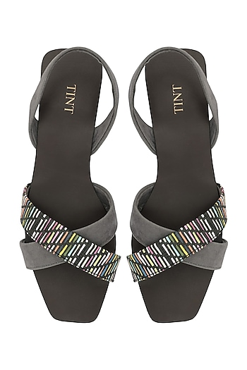 Grey And Multi-Colour Strappy Sandals by TEAL BY VRINDA GUPTA