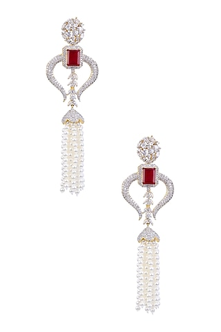 Rhodium and Gold Dual Finish White Sapphire and Ruby Tassle Earrings by Tanzila Rab