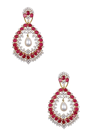 Gold Finish Sapphire with Burmese Ruby Round Earrings by Tanzila Rab