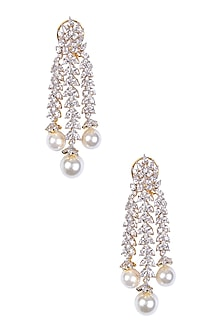 Rhodium and Gold Dual Finish Marquise Sapphire and Pearl Earrings by Tanzila Rab